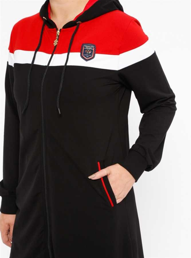 Tommy Life Ön Garnili Siyah-Kırmızı Büyük Beden Tunik Takım