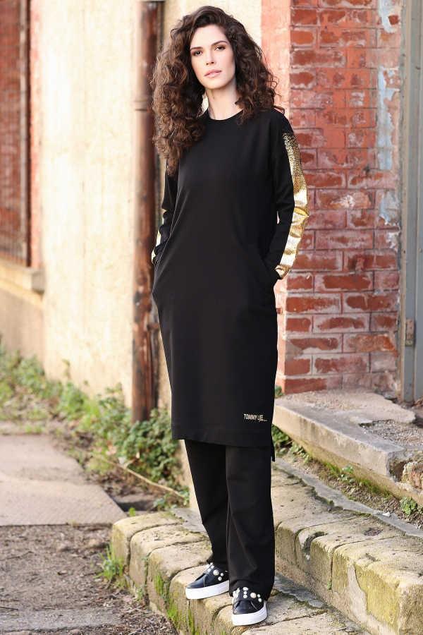 Tommy Life Kolları Simli Cep Detaylı Siyah Tunik Takım