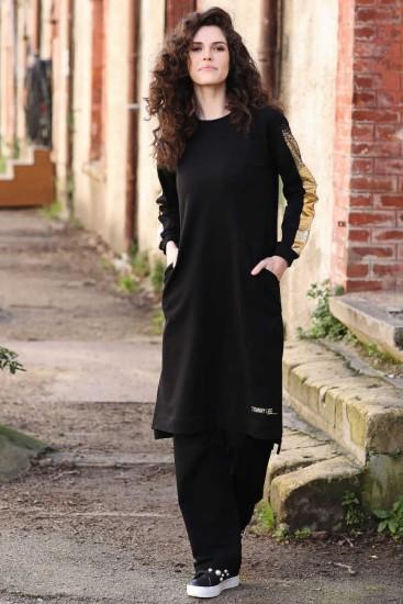Tommy Life Kolları Simli Cep Detaylı Siyah Tunik Takım - Thumbnail