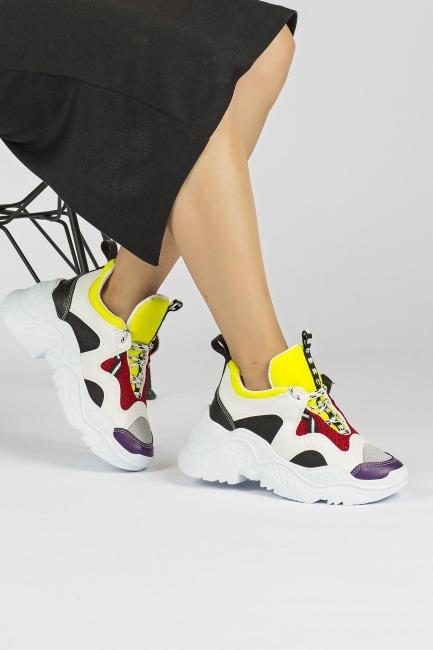 Tommy Life Gri-Sarı Kadın Sneaker - Thumbnail